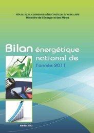 Bilan Énergétique National, année 2011 - Ministère de l'énergie et ...