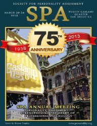 See the 2013 SPA Conference Brochure - Society for Personality ...
