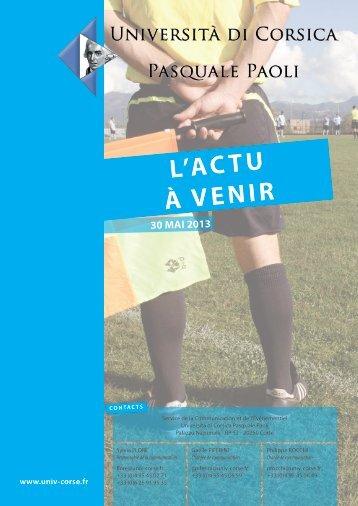 L'actu à venir - 30/05/2013 - Università di Corsica Pasquale Paoli