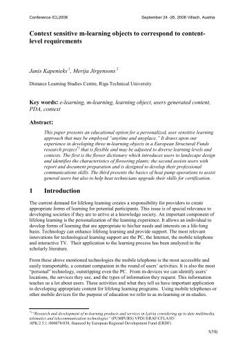 Context sensitive m-learning objects to correspond to content ... - ICL