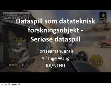 Seriøse dataspill - NTNU