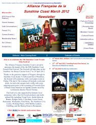 Alliance Française de la Sunshine Coast March 2012 Newsletter