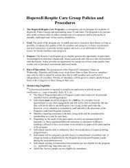 Hopewell Respite Care Group Policies and Procedures - the City of ...