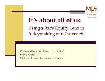 It's about all of us: - Michigan League for Public Policy