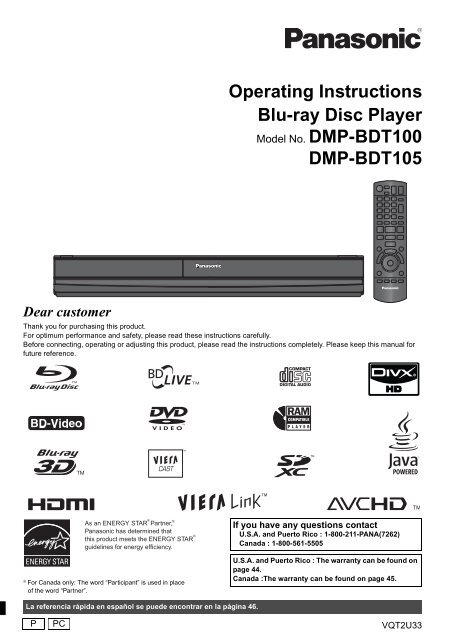 Operating Instructions Blu-ray Disc Player DMP-BDT100