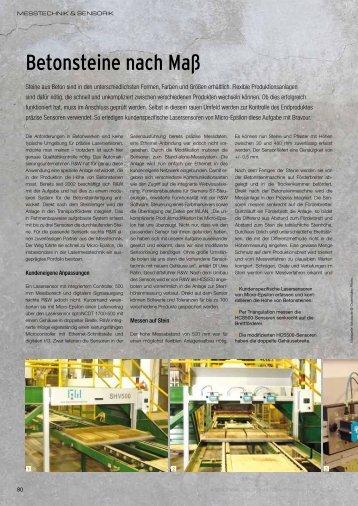 Betonsteine nach Maß - Micro-Epsilon Messtechnik GmbH & Co. KG