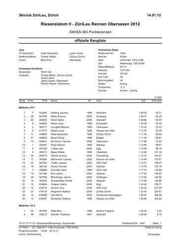 Riesenslalom II - ZüriLeu Rennen Obersaxen 2012 - Skiclub Siebnen
