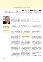 Die Marke im b2b-Verkauf - Michael Brandtner
