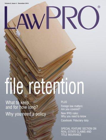 LawPRO magazine 9.4 Dec 2010 - practicePRO.ca