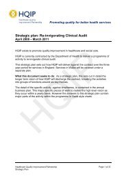 View the 2008-11 clinical audit strategic plan here (pdf) - HQIP