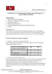 Protokoll der 8. Vorstandssitzung des Berliner Herzinfarktregister eV ...