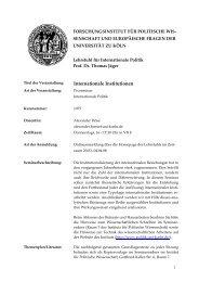 Internationale Institutionen - Lehrstuhl für Internationale Politik und ...