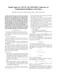 Sample Paper for CIG'10: The 2010 IEEE Conference on ...