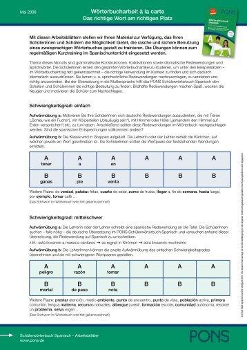 Wörterbucharbeit à la carte AAAAAABBBBBBAAAAAABBB BBB - Pons