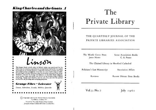 Vol 3 Number 7 - The Private Libraries Association
