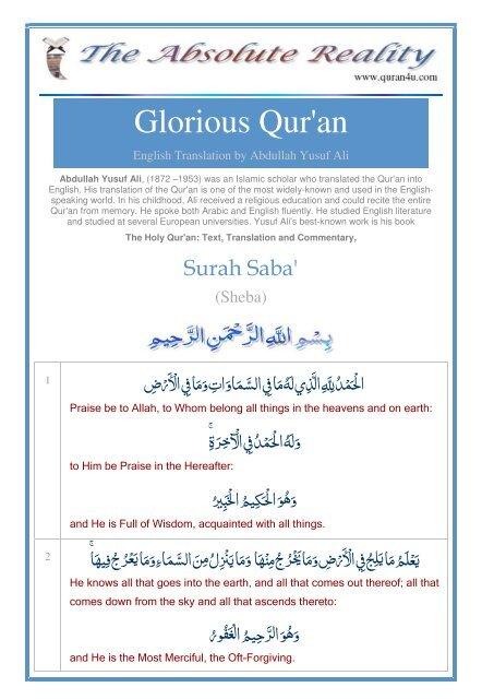 Saba - Quran Arabic, English, French