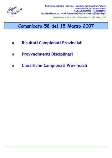 Comunicato 58 del 15 Marzo 2007 - FIPAV