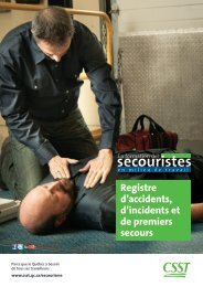 Registre d'accidents, d'incidents et de premiers secours - CSST