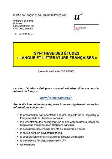 synthèse des études - Institut de langue et de littérature françaises