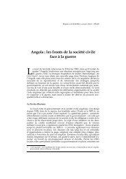 Angola : Les fronts de la sociÈtÈ civile face ‡ la guerre - Lusotopie