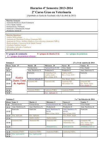 Horarios 1º Curso 2º Semestre 2011-2012 - Facultade de ...