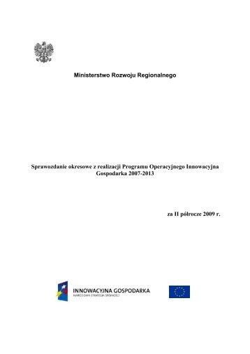 Ministerstwo Rozwoju Regionalnego Sprawozdanie okresowe z ...