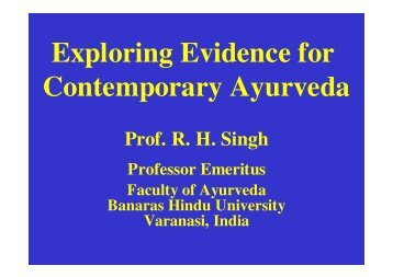 Exploring Evidence for Contemporary Ayurveda