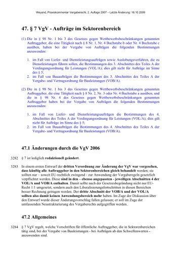 47. § 7 VgV - Aufträge im Sektorenbereich - Oeffentliche Auftraege