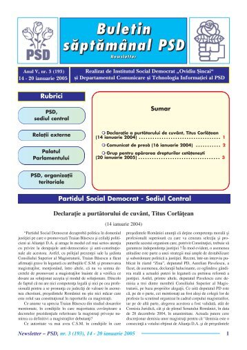 "Newsletter nr. 3 - Institutul Social Democrat ""Ovidiu Sincai"""