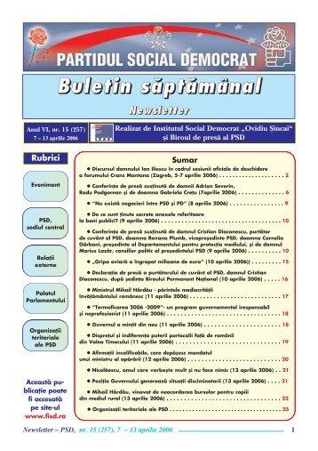 "Newsletter nr. 15 - Institutul Social Democrat ""Ovidiu Sincai"""