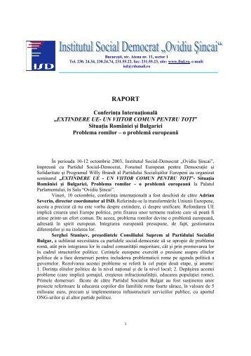 RAPORT - Institutul Social Democrat Ovidiu Sincai