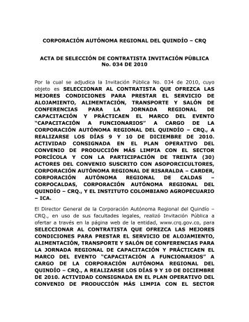 Acta de Adjudicacion Invitacion Publica No. 034 de 2010