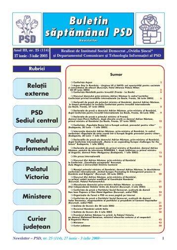 "Buletin såptåmânal PSD - Institutul Social Democrat ""Ovidiu Sincai"""