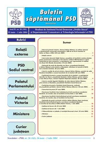 "Newsletter nr. 26 - Institutul Social Democrat ""Ovidiu Sincai"""