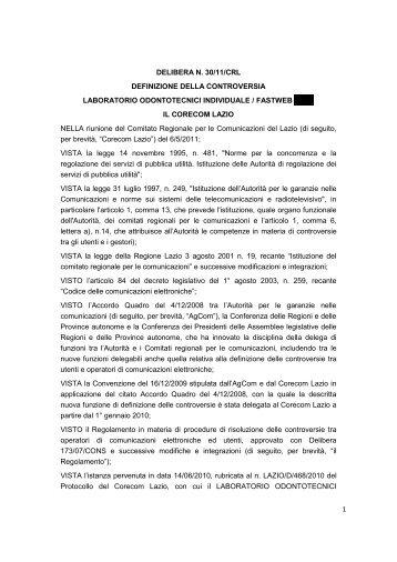 1 DELIBERA N. 30/11/CRL DEFINIZIONE DELLA ... - Corecom Lazio