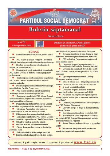 """Newsletter septembrie - Institutul Social Democrat """"Ovidiu Sincai"""""""