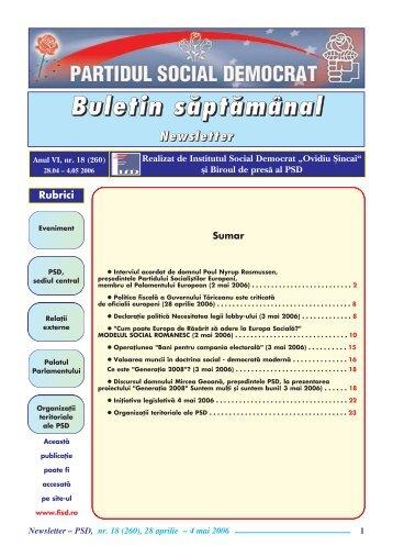 "Newsletter nr. 18 - Institutul Social Democrat ""Ovidiu Sincai"""