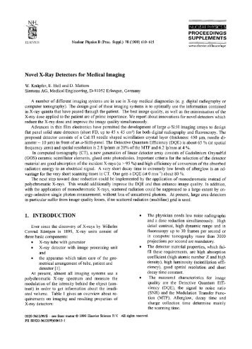 Novel X-Ray Detectors for Medical Imaging W. Kntipfer, E. Hell and ...