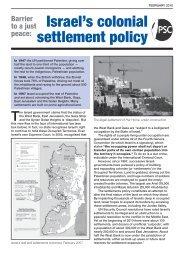 settlements' factsheet - Palestine Solidarity Campaign