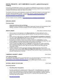 DIGITAL PROJECTS – LIST 18 (BRICMICS 2 June 2011, updated ...