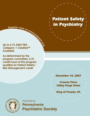Patient Safety in Psychiatry - Pennsylvania Psychiatric Society