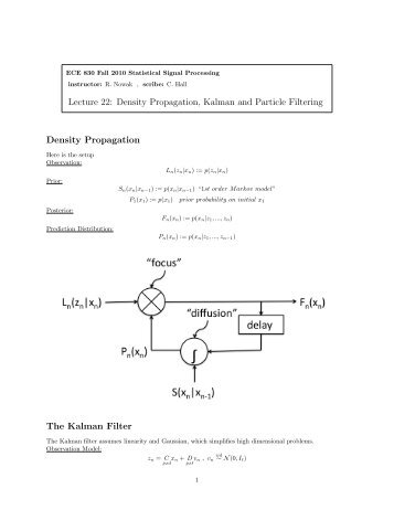 Lecture 22: Density Propagation, Kalman and Particle Filtering ...