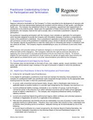 Practitioner Credentialing Criteria for Participation and Termination