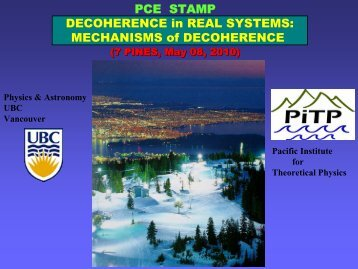PCE STAMP DECOHERENCE in REAL SYSTEMS ... - PiTP
