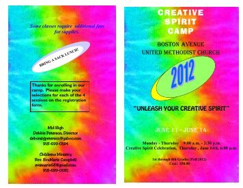 CREATIVE SPIRIT CAMP - Boston Avenue United Methodist Church