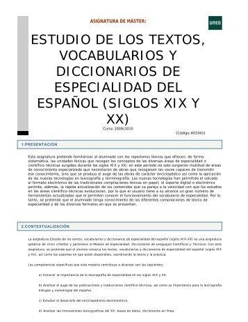 ESTUDIO DE LOS TEXTOS, VOCABULARIOS Y ... - UNED