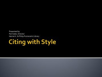 Citing with Style - Western University of Health Sciences