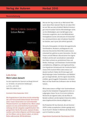Verlag der Autoren Herbst 2010