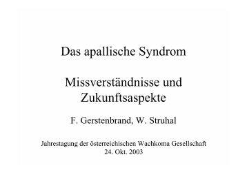Das apallische Syndrom Missverständnisse und Zukunftsaspekte