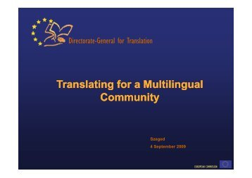 Translating for a Multilingual ranslating for a Multilingual g g g g ...